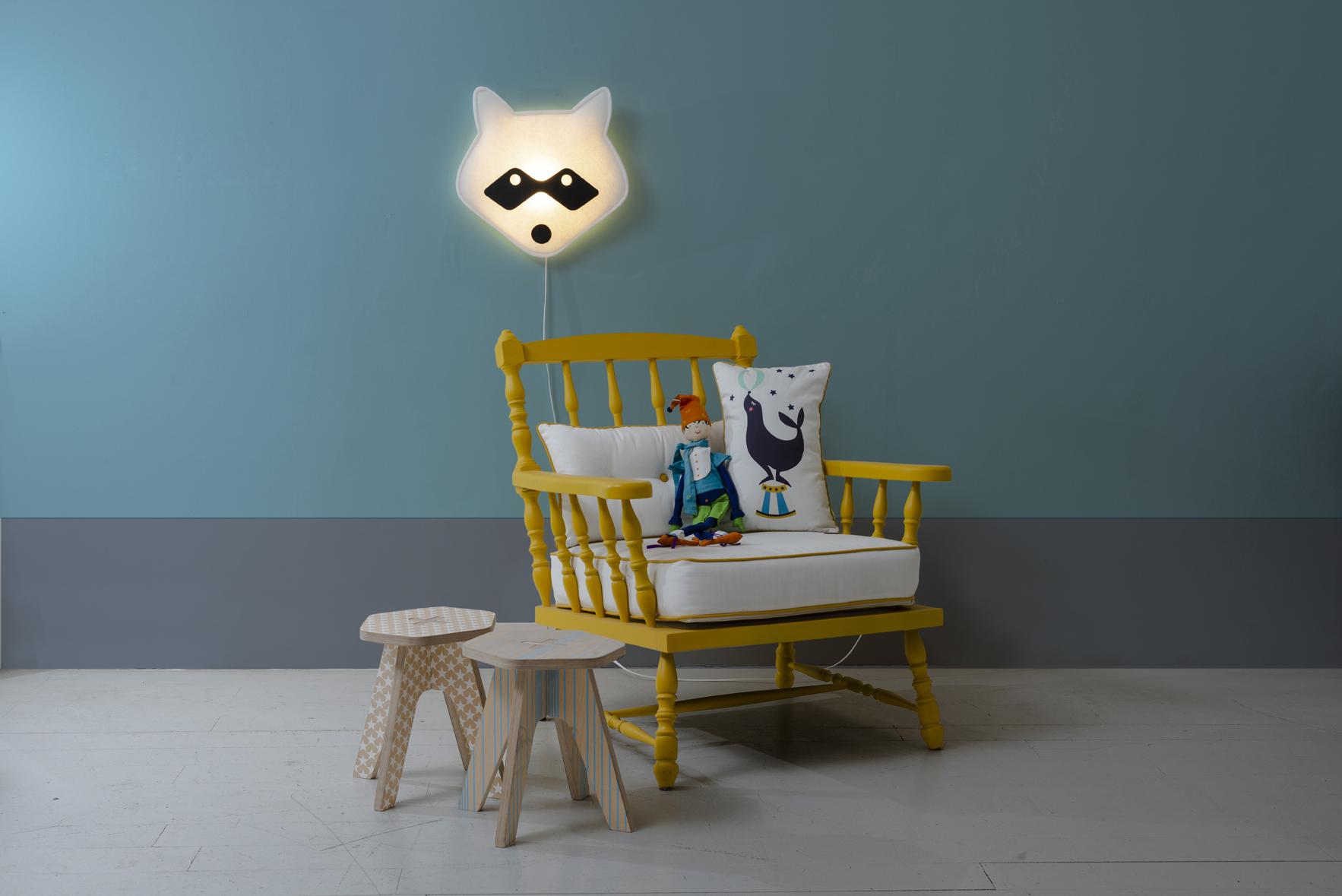 Lámpara infantil de pared Mapache Buokids
